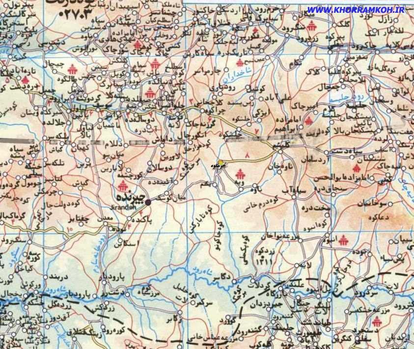 -موقعیت روستای خرمکوه روی نقشه عمارلو